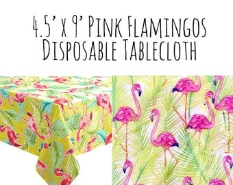 Large Disposable Pink Flamingos Tablecloth, Plastic Tablecloth, Luau Party, Tropical Party, Summer Pool Party Supplies, Outdoor Party BBQ