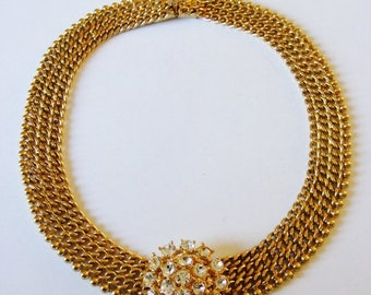 1980's Gold Plated Chain Necklace Set With Swarovski Crystals