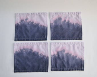Indigo Dip Dyed 4-Set of Cocktail Napkins