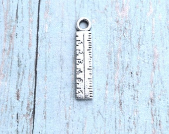 8 Ruler charms (1 sided) antique silver tone - silver ruler pendants, math charm, teacher charms, measurement charms, math teacher charm, S5
