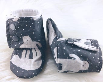 Polar Bear Tall Booties, Tall Booties, Softsole Tall Booties, Baby Booties, Baby Shoes