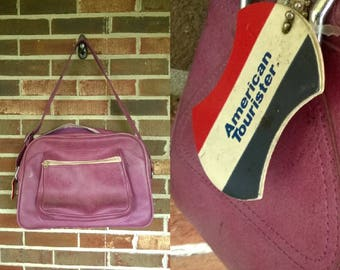 1970s Purple American Tourister Carry On with Luggage Tag