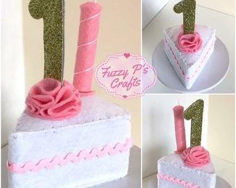 Fake birthday cake, Handmade Felt keepsake, Felt cake slice, sweet 16, 1st birthday, 21st 18th gift, fake cake