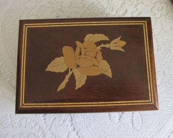 Jewelry Box Inlayed Floral Design Vintage Jewelry and Trinket Box Velvet Lined Wooden Boxes and Storage