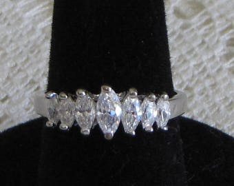 Sterling Silver Ring With Seven (7) Cubic Zirconia Row R.S. Covenant 925 Vintage Women's Jewelry and Accessories