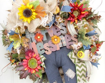 Fall Wreath- Scarecrow Wreath- Autumn Wreath- Deco Mesh Wreath- Front Door Wreath
