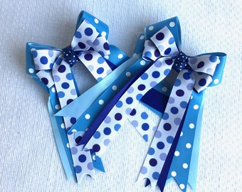 Hair bows for horse shows/beautiful blue equestrian clothing, gift