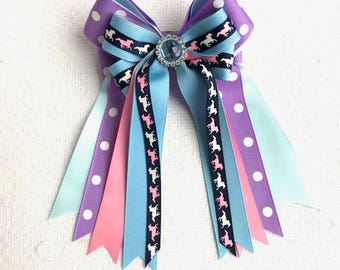Bows for Horse Shows/Tiny Ponies on Purple and Blue