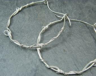 Sterling silver hoop earrings ~ Bohemian earrings for women ~ Large sterling silver hoop earrings ~ Silver hoops ~ Gypsy earrings ~ Gift