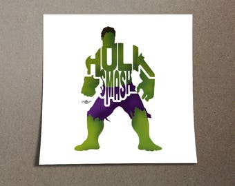 "The Incredible Hulk Poster Typography Design from the Marvel Universe with his phrase, ""Hulk Smash"" Green and Purple Poster Home Decor"