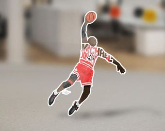 Michael Jordan Sticker Design 23 on removable die-cut vinyl. Has a 1/8th of an inch white border around each design.