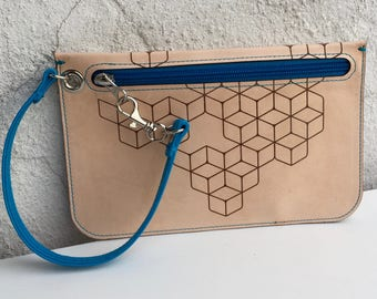 "Unique One Of A Kind Handcrafted Wristlet ""Black Betty""– Laser Cut & Engraved Vegetable Tanned Leather with Electric Blue Accents"