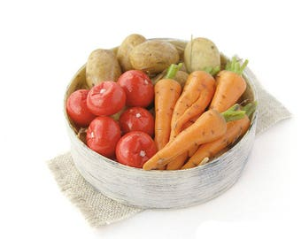 Dollhouse Miniatures  basket with vegetables polymer clay food for toy harvest vegetable country style Carrot tomato potatoes