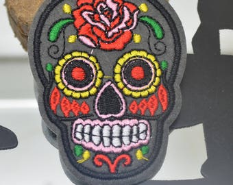 patch fusible 7x5cm or for other gray skull skull