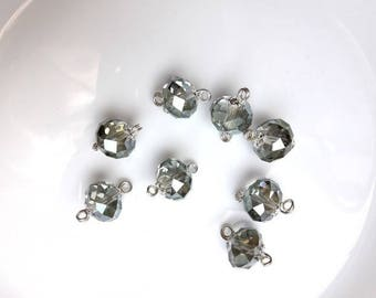 Bag of 8 Crystal round beads 18x12mm already prepared