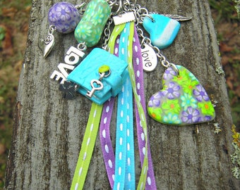 """lucky charm, keychain or purse jewelry """"words of love"""""""