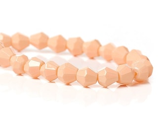 10 glass bicone beads faceted pink orange 5 mm