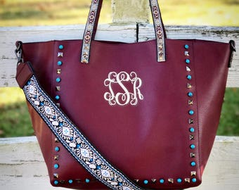 Guitar Strap Handbag, Guitar Strap Purse, Monogram Guitar Strap Handbag Purse, Studded Purse, Embroidered Strap Bag