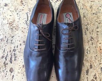 Derbies shoes dark brown leather Gontard vintage dead stock 1980 / 41 1/2 FR