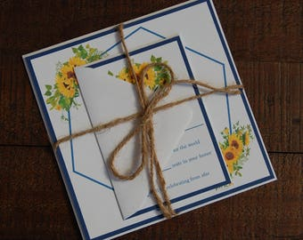 Sunflower Wedding Invitation, Blue Wedding Invitation, Rustic Wedding Invitation