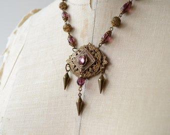 Phaedra necklace - 1930s brass vintage necklace