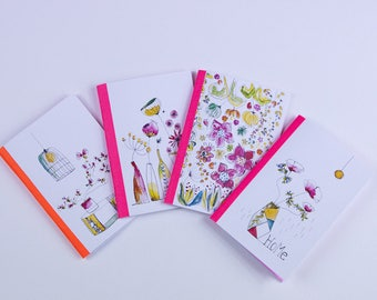 "Set of 2 small notebooks ""watercolor home"" vergé paper cover"