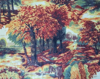 Blooming Trees Scenic Harvest Cotton Fabric sold by the yard