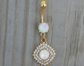Opal Gem Belly Button Ring, Crystal Belly Rings, Silver Navel Rings, Opal Body Jewelry, Jeweled Navel Ring, Curved Barbell.
