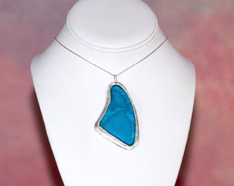 """Ocean Tumbled Turquoise Blue Sea Glass Cabochon set in Sterling Silver. Includes 18"""" Sterling Silver Necklace Chain and Gift Packaging"""
