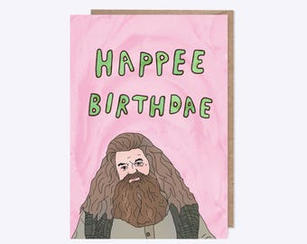 Harry Potter Birthday Card | Hagrid Card 'Happee Birthdae' | Harry Potter Movies | Funny Birthday Cake Card