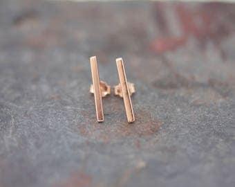 Large plain bar earrings