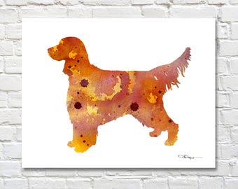 Gordon Setter Art Print - Abstract Watercolor Painting - Wall Decor