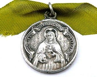 Vintage French Scapular Medal, Sacred Heart Medal