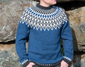 Blue Mens Knit Sweater | Lopapeysa | Icelandic Wool Sweater | Nordic Design | Chunky Knit Jumper | XL Size | Mens Clothing | Gift For Him