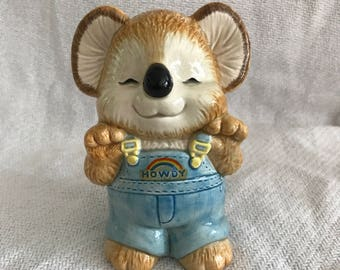 Vintage koala bear piggy bank ceramic