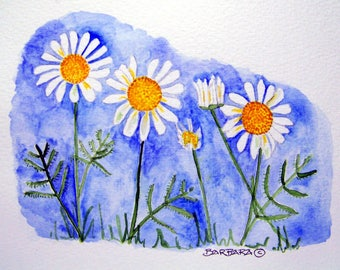 Daisy Note Cards, Marquerite Daisy Watercolor Note Cards, Handmade - No.  690  Marguerite Daisies