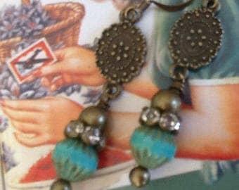 Earrings Boho Chic Earrings Picasso Czech Earrings Women's Earrings