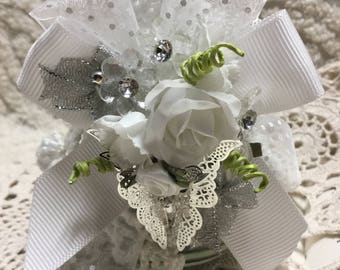 Shabby Altered Shaker  -  White and Silver