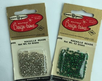 Vintage Design-Trims Rocaille Beads Silver Unused and Green Appears Slightly Used