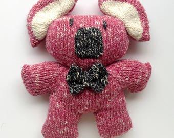 Koala plush pink with bow tie