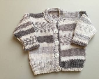 Baby boy white grey fairisle effect jacket. Baby shower Baby gift