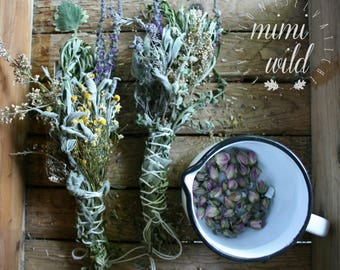 smudge stick floral-wild grasses. Wildflowers-frankincense-perfume-fumigation