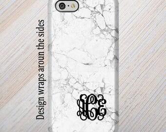 iPhone 7 Case, Monogram, iPhone 6 Case, iPhone 8 Case, iPhone 7 Plus Case, Galaxy S8 Case, White Marble, iPhone 8 Plus Case Galaxy S7 Case