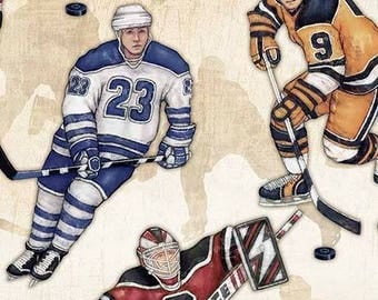 Face Off Hockey Players on Natural Cotton Woven by Dan Morris