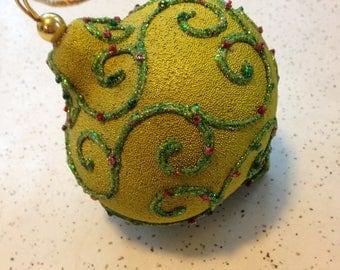 Large Plump Teardrop Paper Mache Ornament