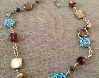 Brown and Turquoise Beaded Gold Tone Chain Necklace