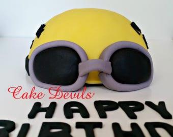 Swim Cap Cake Topper, Fondant Swimmer Cap, Swim Team, Handmade Edible, Fondant Goggles, pool party cake decorations, swimming party
