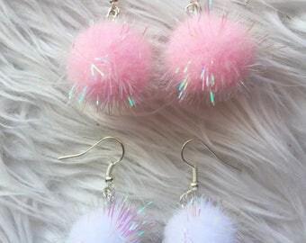 Sparkly Pom Pom Earrings