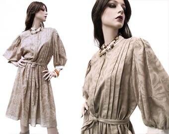 Pussy bow, flower pattern dress, cotton dress, vintage style, teacher dress, mod dress, midi dress, flower dress, secretary dress