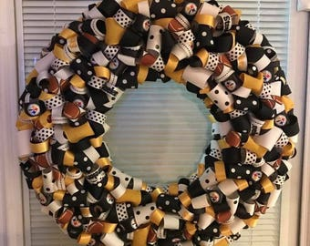 Pittsburgh Steelers Ribbon Wreath Football More NFL Teams Available